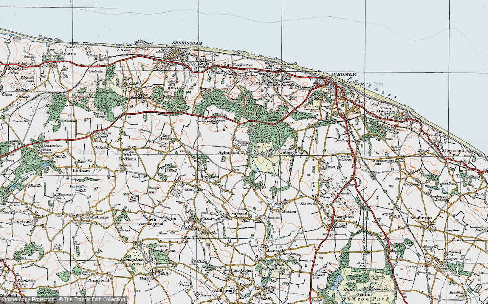 Old Map of Historic Map covering Lion's Mouth in 1922