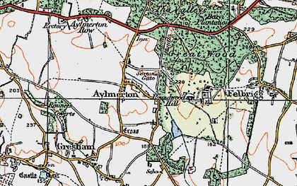 Old map of Aylmerton in 1922