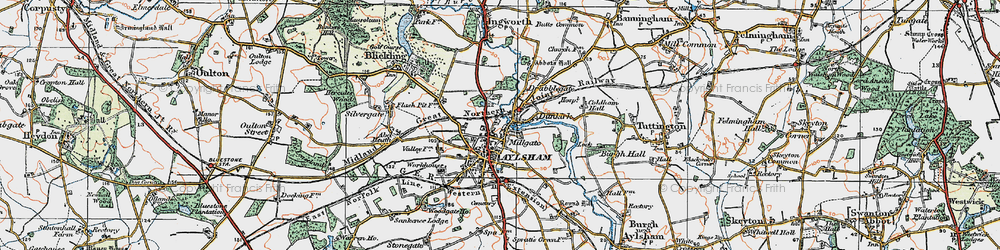 Old map of Aylsham in 1922