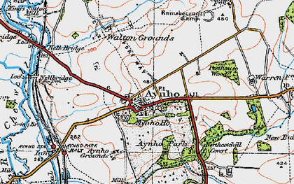 Old map of Aynho in 1919