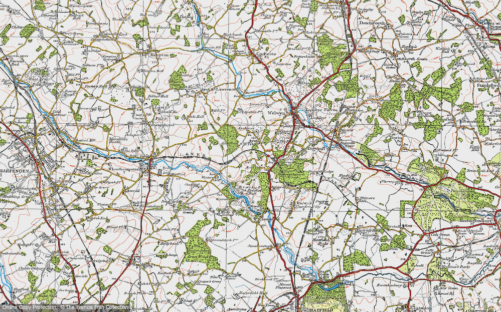 Old Map of Historic Map covering Ayot Montfitchet in 1920