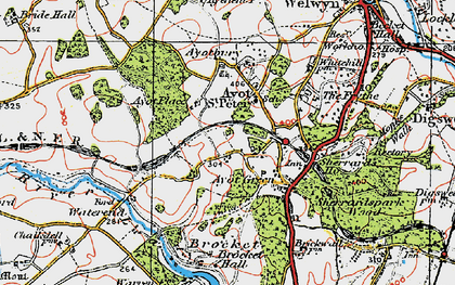 Old map of Ayot Montfitchet in 1920