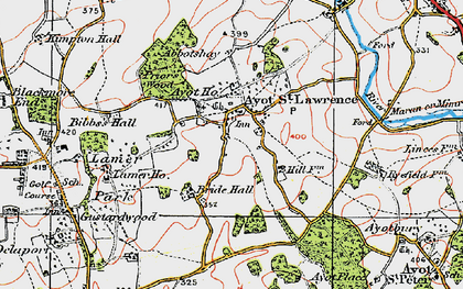 Old map of Ayot St Lawrence in 1920