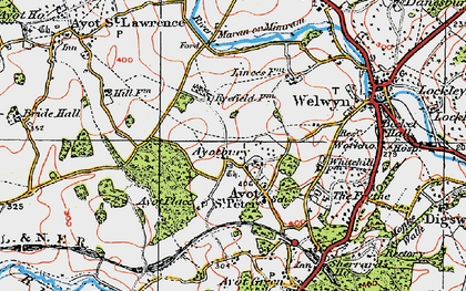 Old map of Ayot Bury in 1920
