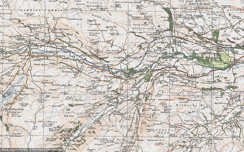Old Map of Historic Map covering Aysgarth Falls in 1925