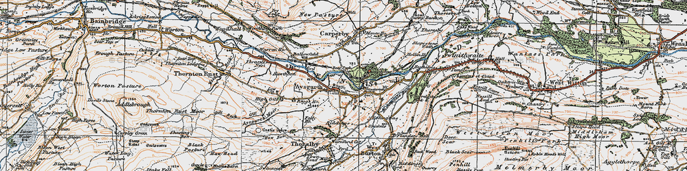 Old map of Aysgarth in 1925