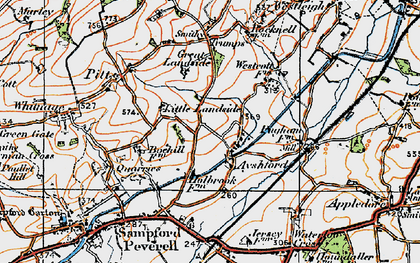 Old map of Ayshford in 1919