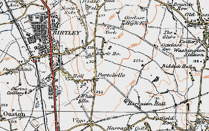 Old map of Ayton in 1925