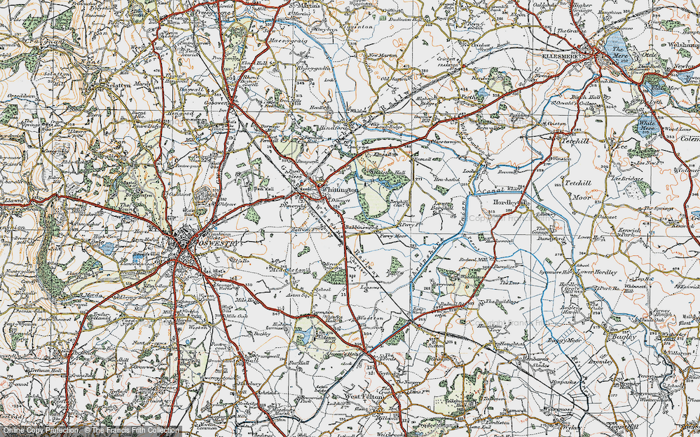 Old Map of Babbinswood, 1921 in 1921