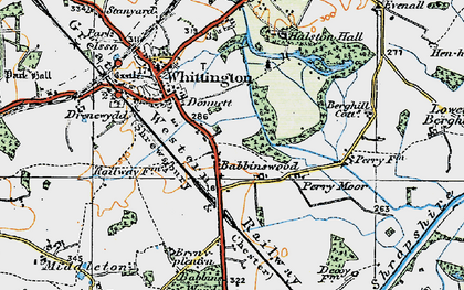 Old map of Babbinswood in 1921