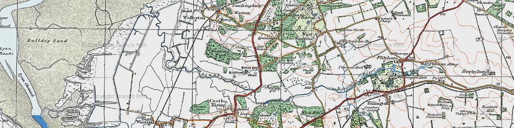Old map of Wolferton Wood in 1922