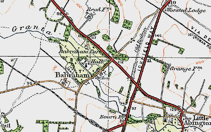Old map of Babraham in 1920