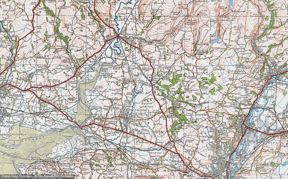 Old Map of Historic Map covering Tircoed in 1923