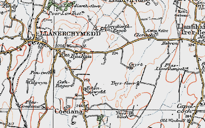 Old map of Bachau in 1922