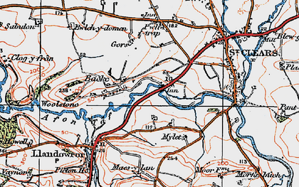 Old map of Backe in 1922