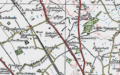Old map of Backford Cross in 1924