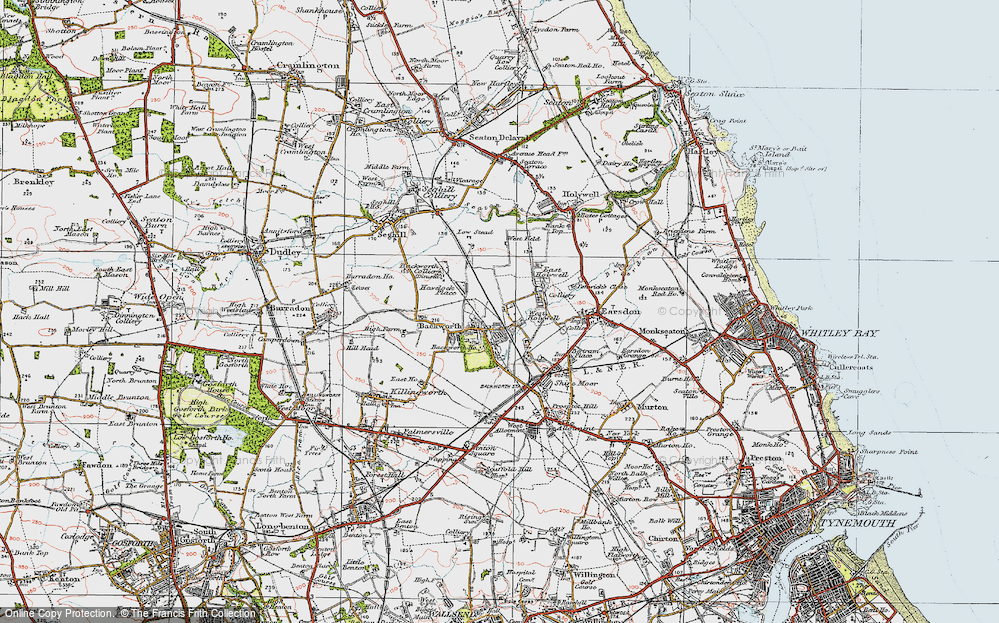 Old Map of Backworth, 1925 in 1925