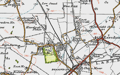 Old map of Backworth in 1925