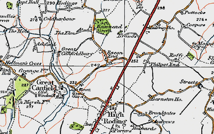 Old map of Bacon End in 1919