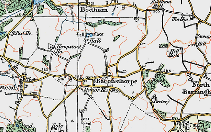 Old map of Baconsthorpe in 1922