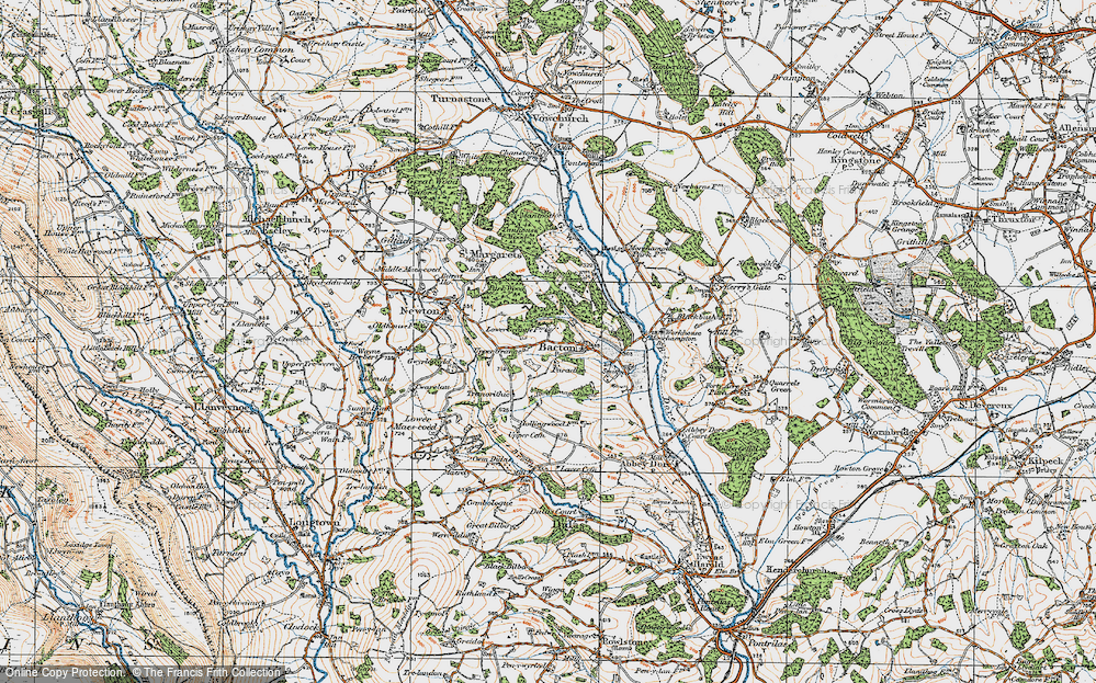 Old Map of Historic Map covering Bacton Stud in 1919