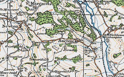 Old map of Bacton in 1919