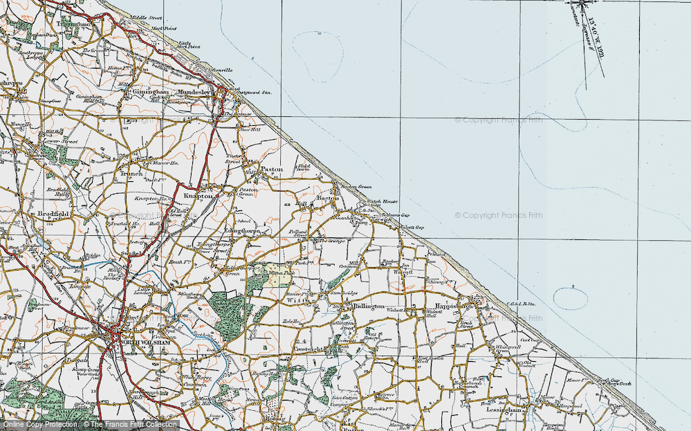 Old Map of Bacton, 1922 in 1922