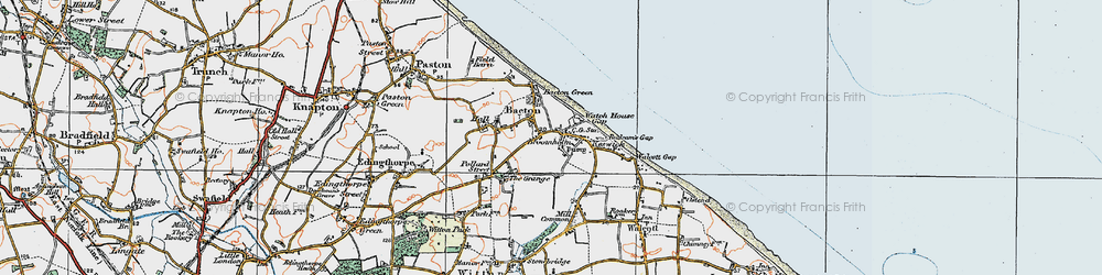 Old map of Bacton in 1922