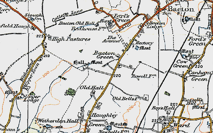 Old map of Bacton Green in 1921