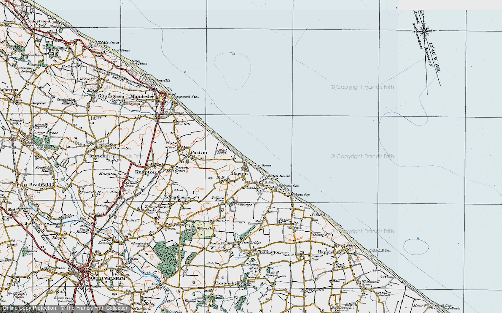 Old Map of Bacton Green, 1922 in 1922