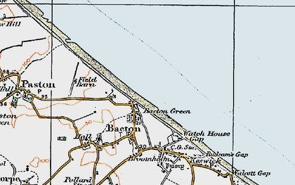 Old map of Bacton Green in 1922