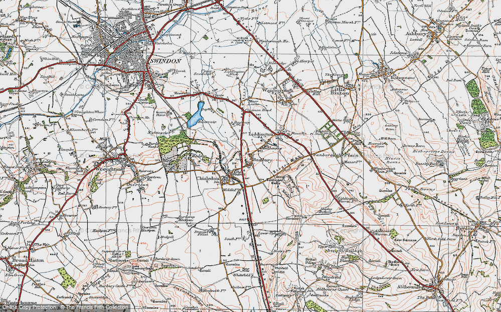Old Map of Historic Map covering Liddington Castle in 1919