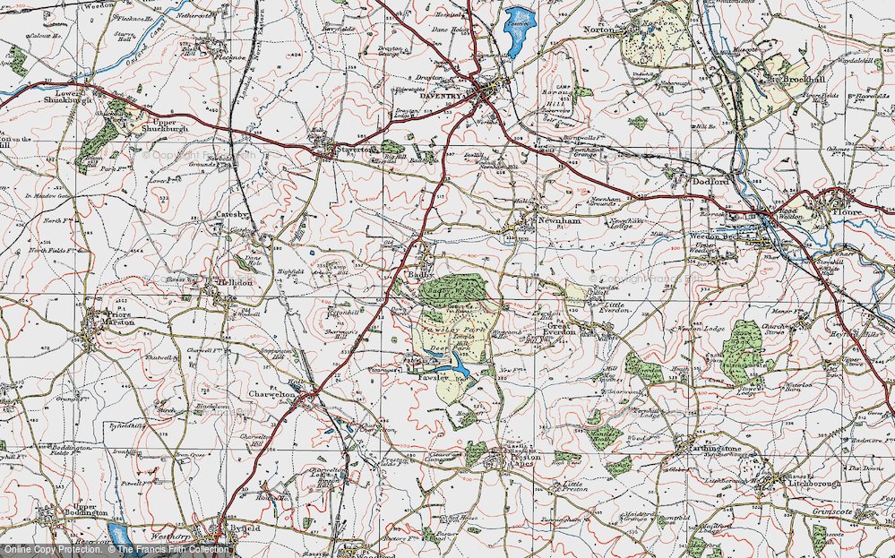 Old Map of Historic Map covering Badby Wood in 1919