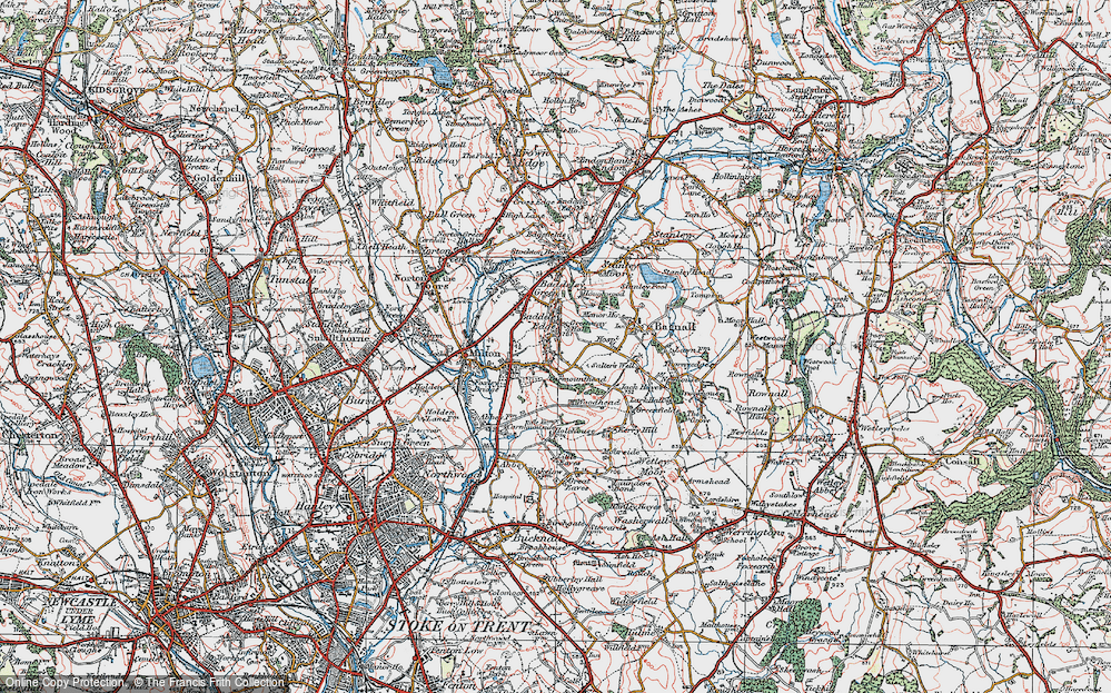 Old Map of Baddeley Edge, 1921 in 1921
