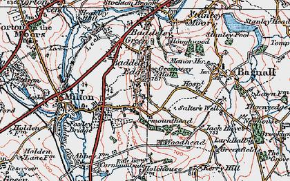 Old map of Baddeley Edge in 1921
