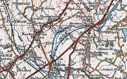 Old map of Baddeley Green in 1921