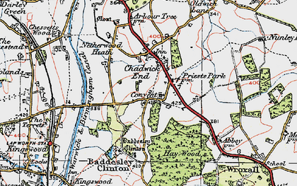 Old map of Baddesley Clinton in 1919