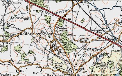 Old map of Baddesley Ensor in 1921