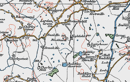 Old map of Baddiley Hulse in 1921