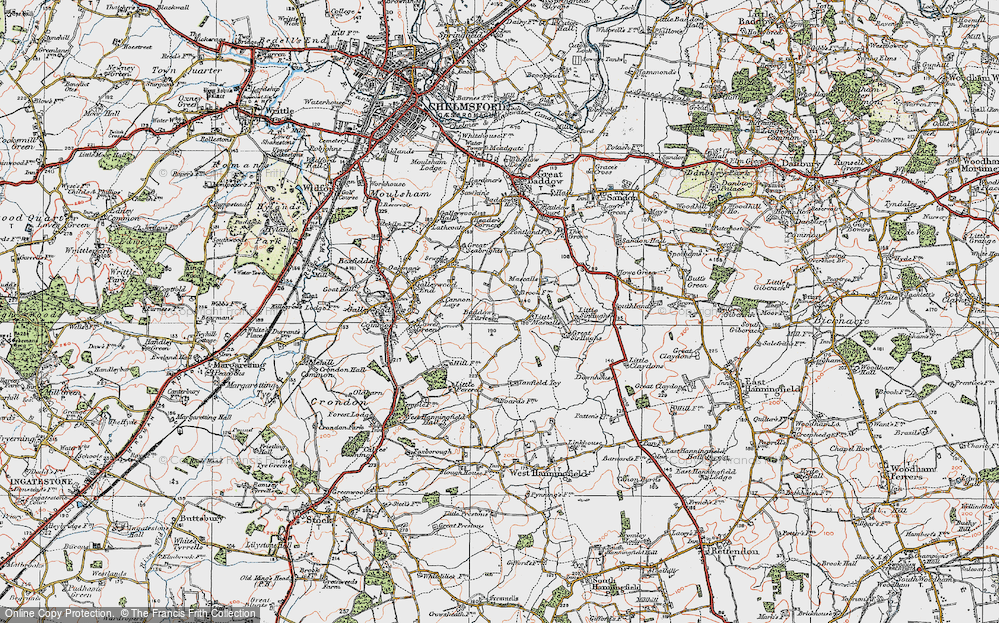 Old Map of Baddow Park, 1921 in 1921
