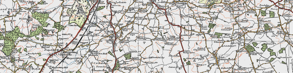 Old map of Baddow Park in 1921
