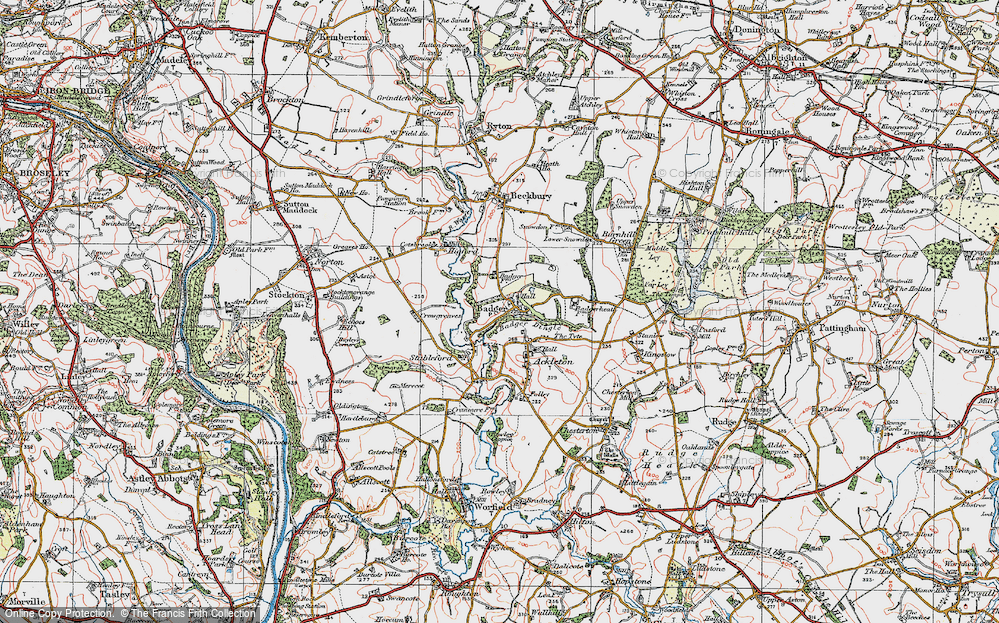 Old Map of Historic Map covering Badger Dingle in 1921