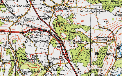 Old map of Badgers Mount in 1920