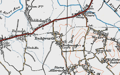Old map of Badgworth in 1919