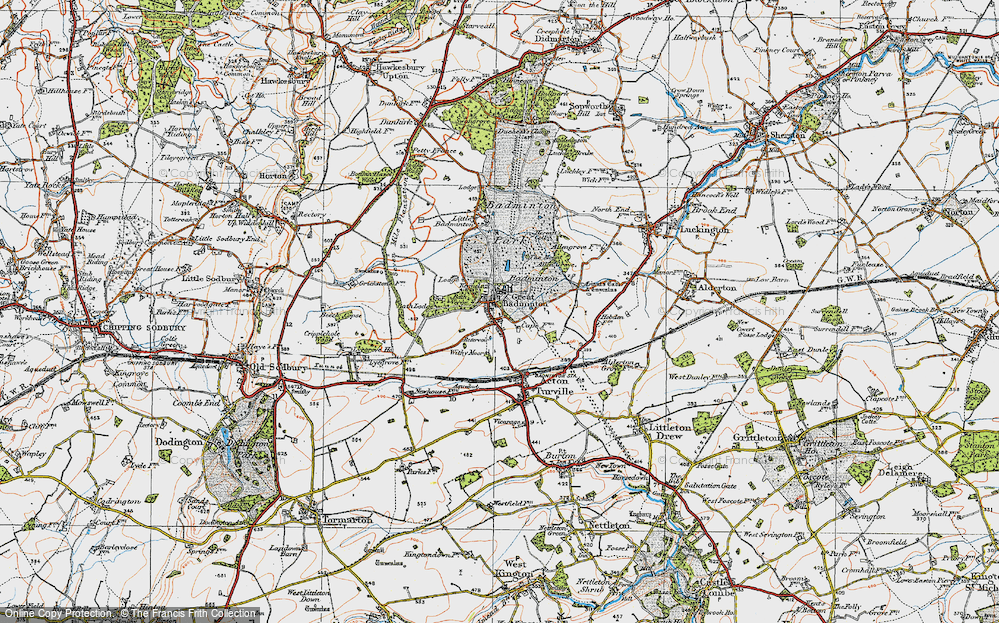 Old Map of Badminton, 1919 in 1919