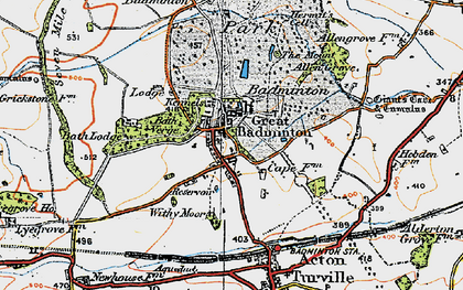 Old map of Badminton in 1919