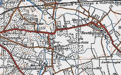 Old map of Badsey in 1919
