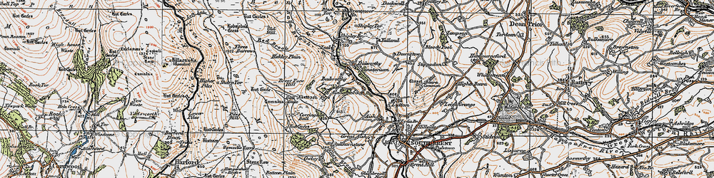 Old map of Badworthy in 1919