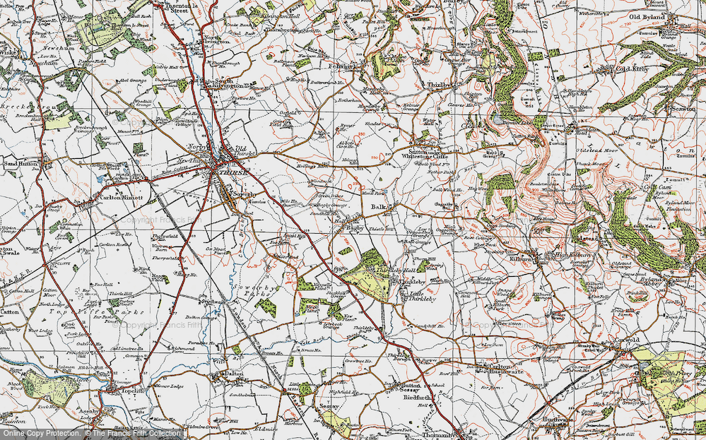 Old Map of Historic Map covering Abbot's Close in 1925