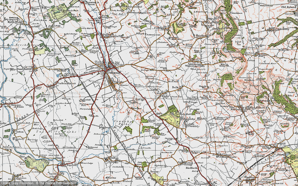Old Map of Historic Map covering Woodcock in 1925